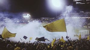 soccer fans with yellow flags